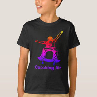 Skater Boy Rainbow Skateboarder Catching Air T-Shirt