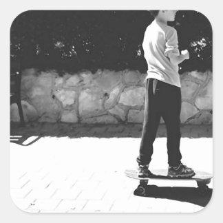 skater boy square sticker
