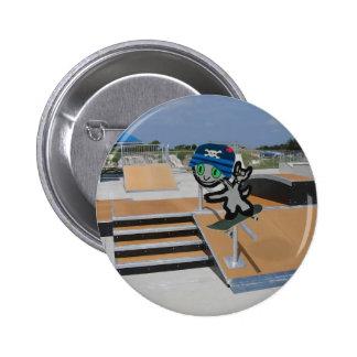 Skater Cat At A Skate Park Buttons