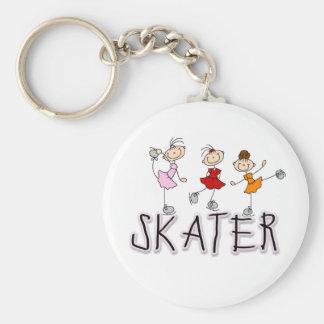 Skater Girl Basic Round Button Key Ring