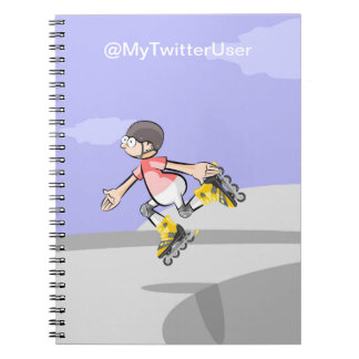 Skater jumping in the park notebook