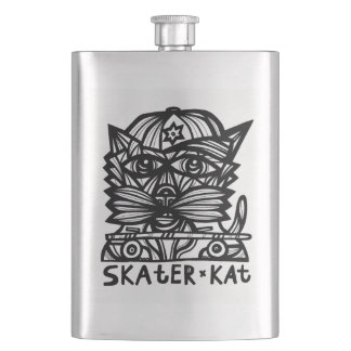 """Skater Kat"" Classic Flask"