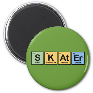 Skater made of Elements 6 Cm Round Magnet