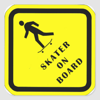 Skater On Board Square Sticker