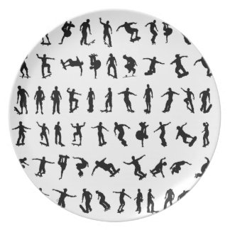 Skater Silhouettes Plate