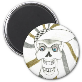 SKATER SKULL PRODUCTS 6 CM ROUND MAGNET