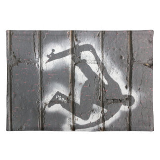 Skater Stencil wall art in greys and white Placemat