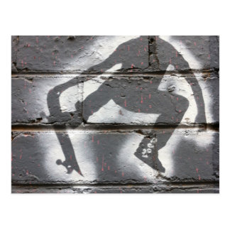 Skater Stencil wall art in greys and white Postcard