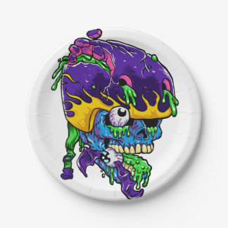 Skater zombie. 7 inch paper plate