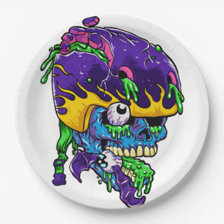 Skater zombie. 9 inch paper plate