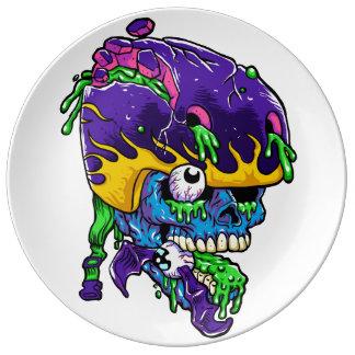 Skater zombie. porcelain plate