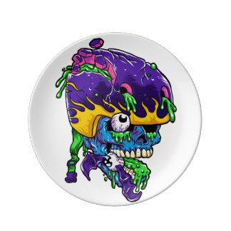 Skater zombie. porcelain plates