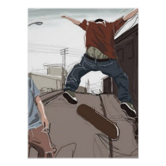 Skaters in the Street Poster
