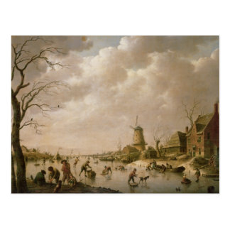 Skaters on a Frozen Canal, 1779 Postcard