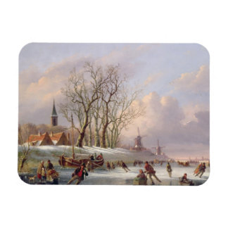 Skaters on a Frozen River before Windmills (oil on Vinyl Magnet