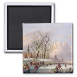 Skaters on a Frozen River before Windmills (oil on Square Magnet