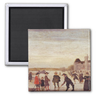 Skaters on the Seine in 1608 Square Magnet