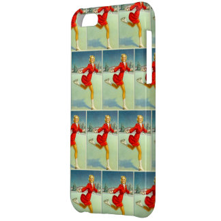 Skaters Waltz Retro Winter Scene Tiled iPhone 5C Cover