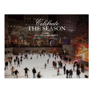 Skating at ice skating rink in Rockefeller Center Postcard