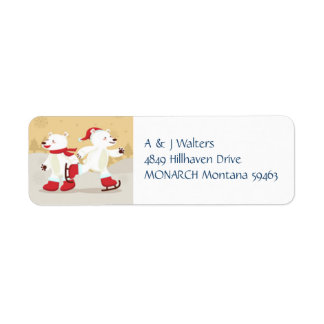 Skating Christmas Polar Bears Labels