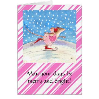 Skating Mouse Pink Christmas greeting card