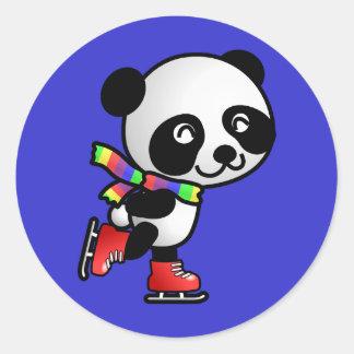 Skating Panda Round Sticker