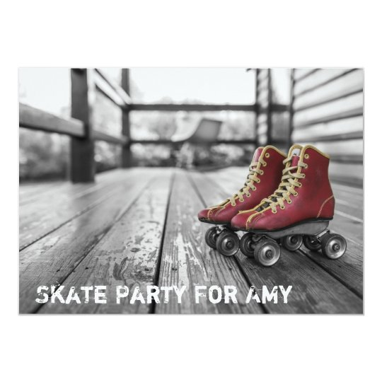 Skating Party, Roller skate, Photo Invitation