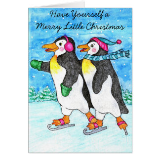 Skating Penguins Christmas Card