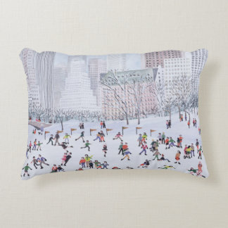Skating Rink Central Park New York 1994 Decorative Cushion