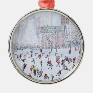 Skating Rink Central Park New York 1994 Silver-Colored Round Decoration