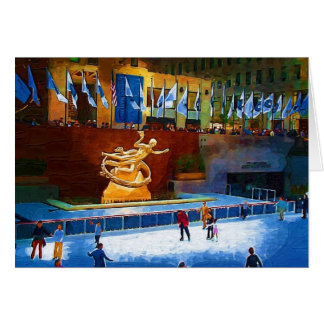 Skating Rink, Rockefeller Center, New York City Greeting Card