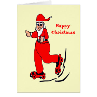 Skating Santa Card