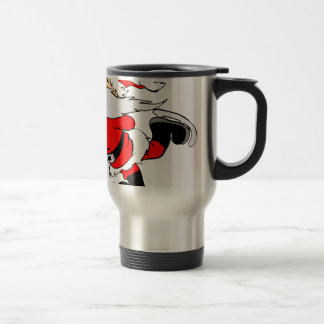 Skating Santa Claus on Christmas Travel Mug