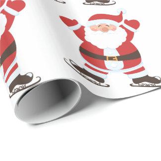 Skating Santa Claus Wrapping Paper