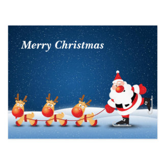 Skating Santa & His Reindeer Postcard