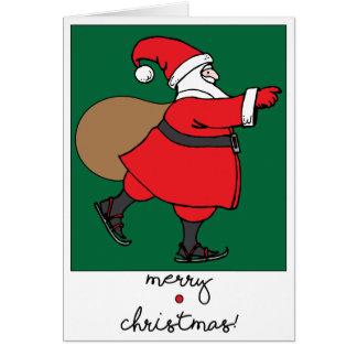 Skating Santa holiday greeting card