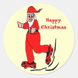 Skating Santa Round Stickers