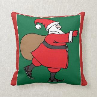 Skating Santa throw pillow