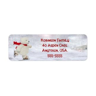 Skating Snowman Christmas Address Labels