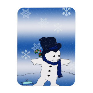 Skating Snowman in Blue Rectangular Photo Magnet