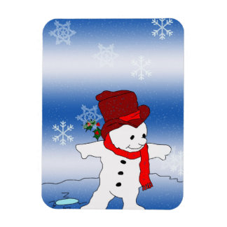 Skating Snowman in red Rectangular Photo Magnet