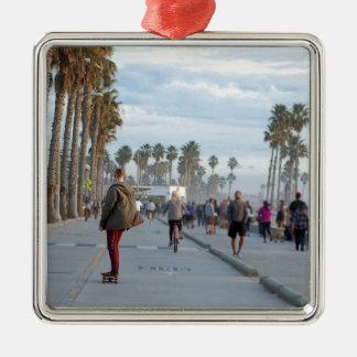 skating to venice beach metal ornament