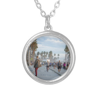 skating to venice beach silver plated necklace