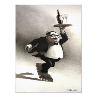 Skating Wine Waiter Photo Print