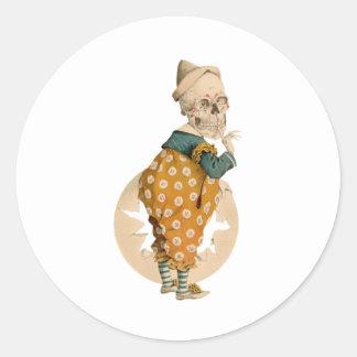Skeletal Clown Round Sticker