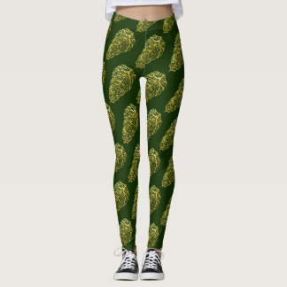 SKELETAL GREEN LEAVES by Slipperywindow Leggings