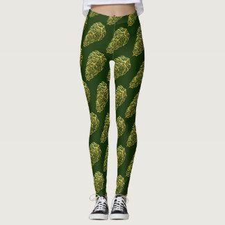 SKELETAL GREEN LEAVES by Slipperywindow Leggings