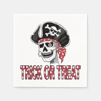 Skeletal Pirate Halloween Party Paper Napkins
