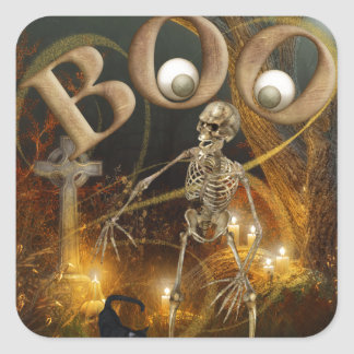 Skeleton and Grave Halloween Square Sticker