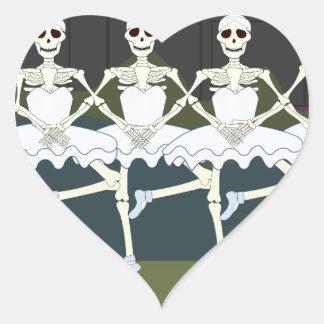 Skeleton Ballerinas Heart Sticker